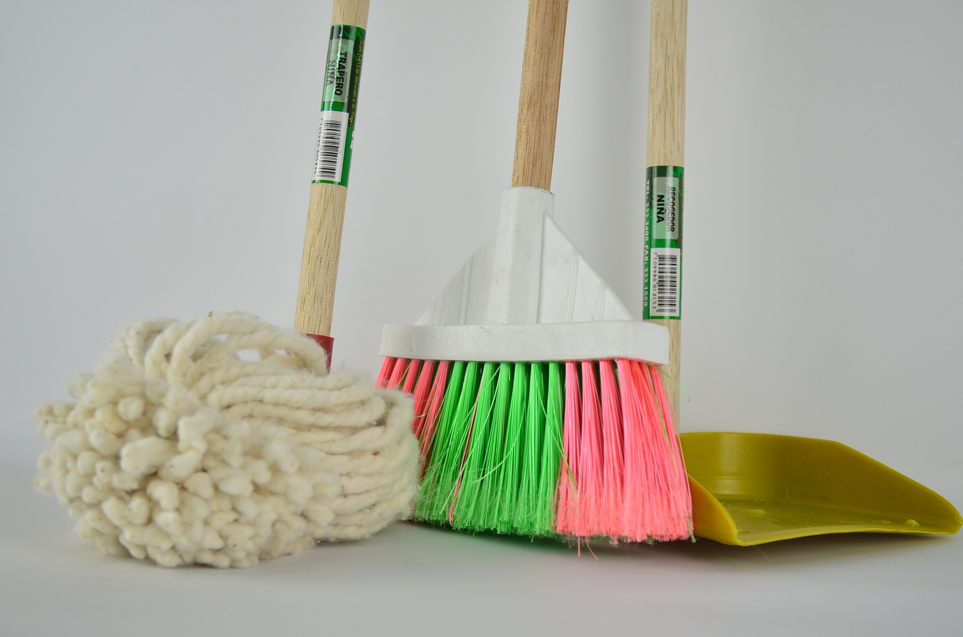 spring cleaning. mop, brush and broom