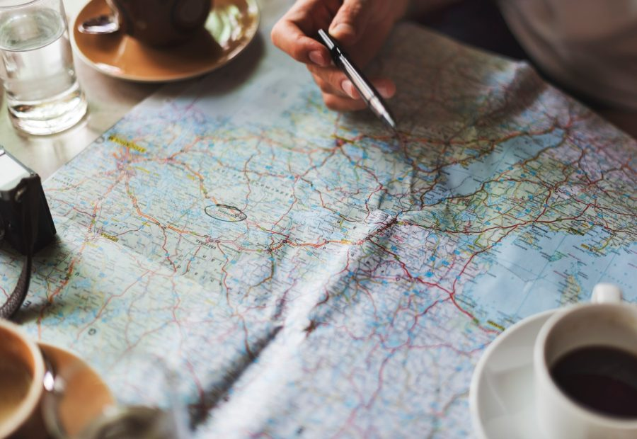holiday planning with map and pen