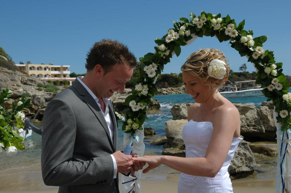 me and Rob getting married on a beach