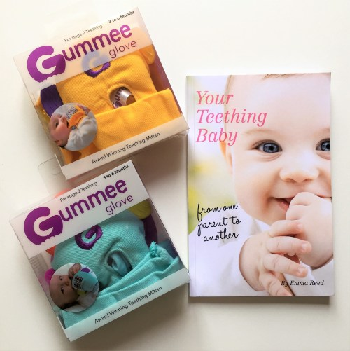 gummee gloves with my book your teething baby from one parent to another