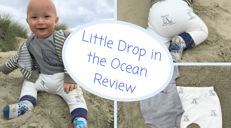 3 images of clothing one with baby wearing vest and pants then vest and pants on the beach with the title little drop in the ocean review