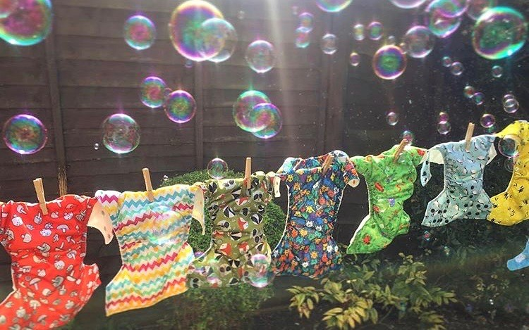 cloth nappies on washing line