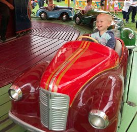 William on the vintage car