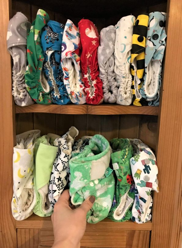 nappies on a bookcase