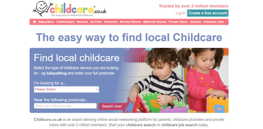 finding childcare on childcare.co.uk website