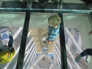 William looking through the glass floor
