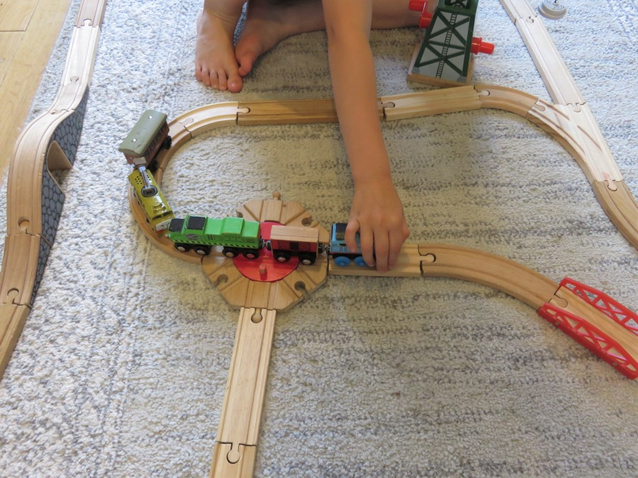 the brio train track being played with