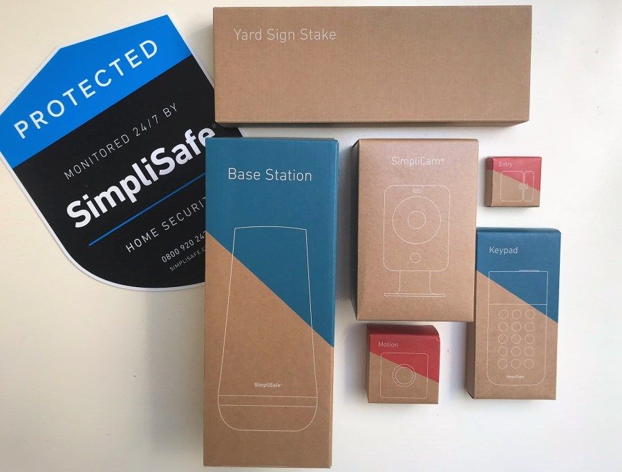 The SimpliSafe starter kit in its packaging