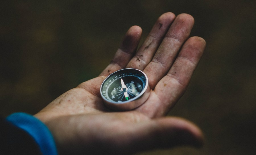 a compass in a hand