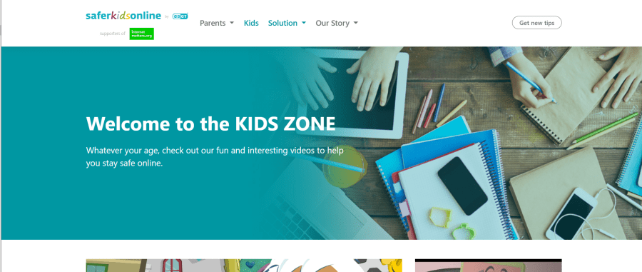 a screenshot of the Safer Kids Online website