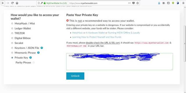 creating myetherwallet private keys