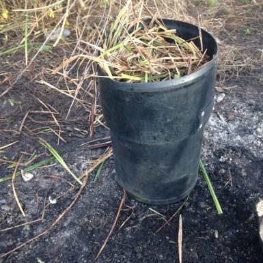 Plastic compost bin on allotment