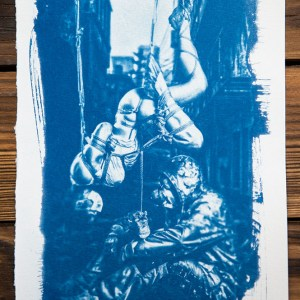 """Shibari : cyanotype - Never give up"""