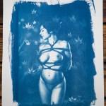 """Shibari : Cyanotype – Feuilles d'automne"" 24×32"
