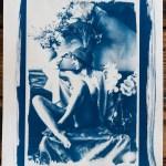"""Cyanotype : """"Nu aux Fleurs"""" 21X29,7cm"""