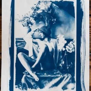 cyanotype nu au fleurs