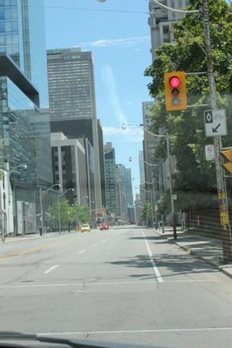 Empty streets in Toronto.