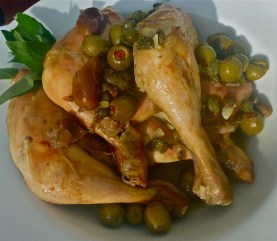Ottolenghi's chicken with dates, olives and capers. W/f, D/f.