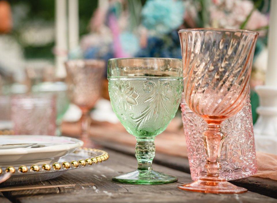 backyard wedding glass goblets