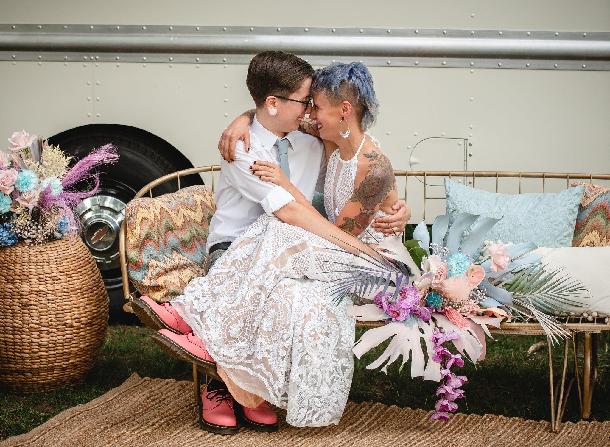 two brides at backyard wedding
