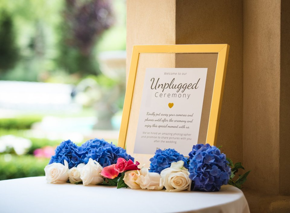 sign for an unplugged wedding ceremony