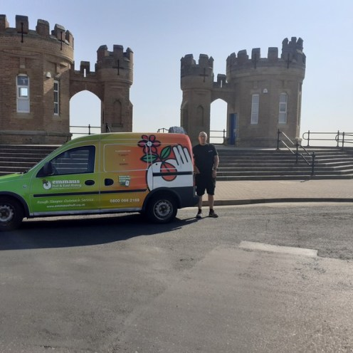 Simon in Withernsea with the new van800