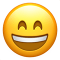 Grinning Face With Smiling Eyes on Apple iOS 11.2 Coussin emoji, signification smiley, signification emoji