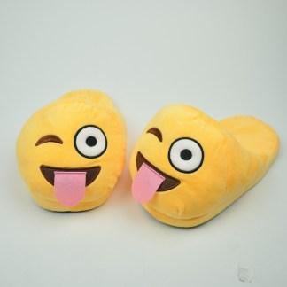 Emojitofflor som blinkar med tungan ute