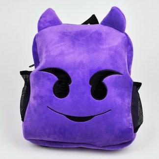 Emojiryggsäcl som är en lila djävul