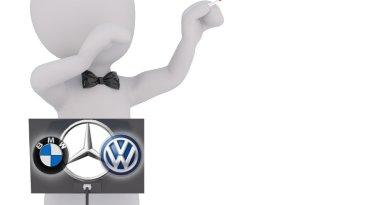 Dirigent dirigiert die Politik nach Noten von BMW, VW + Mercedes - Grafik von emoove.net