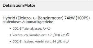 Toyota Yaris - Details zum Motor - CO2 Effizienzklasse A+, aber mit Erläuterung