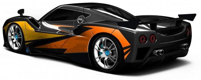 Arash AF10-Hybrid - Elektroauto - von hinten schräg links - changierende Farben - langes Bild (1)