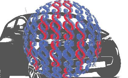 Paragrafenkugel vor Renault Zoe - Beitragsbild