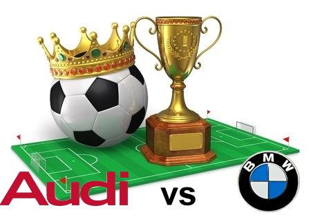 Sport - Fussball Feld, mit Audi + BMW Logo