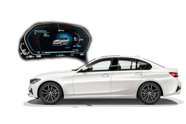 BMW 330e - Collage Auto und Display- emoove.net, BMW 330e - der neue Plug-in-Hybrid.