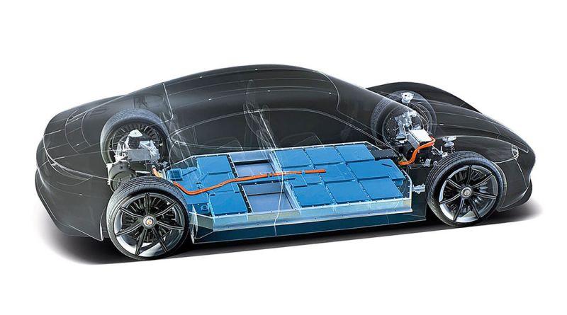 Porsche nimmt Abstand von 350 kW Ladung --- Porsche-Taycan--- Akkus im Fahrzeugboden - Foto Porsche