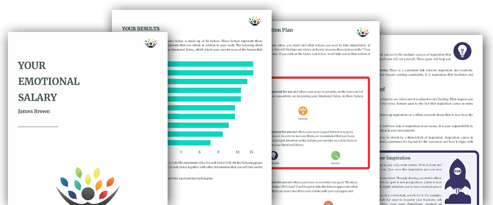 You will receive your own personalised copy of the Emotional Salary Barometer detailing your Emotional Salary and providing advice on how you can increase it