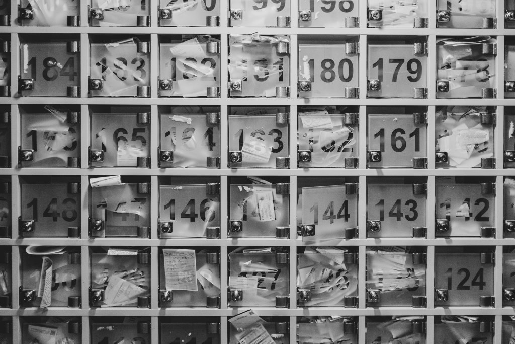 Unorganised numbered boxes black and white