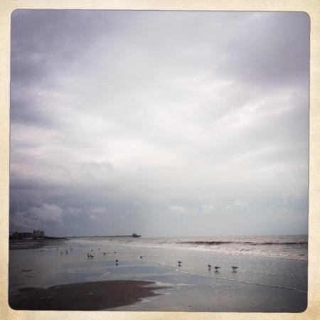 receeding water on the beach