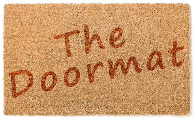 Doormat picture with words The Doormat on it to represent the passive doormats