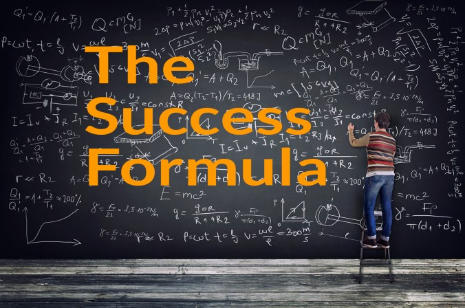 Success and the success formula - guy at a blackboard with a formula