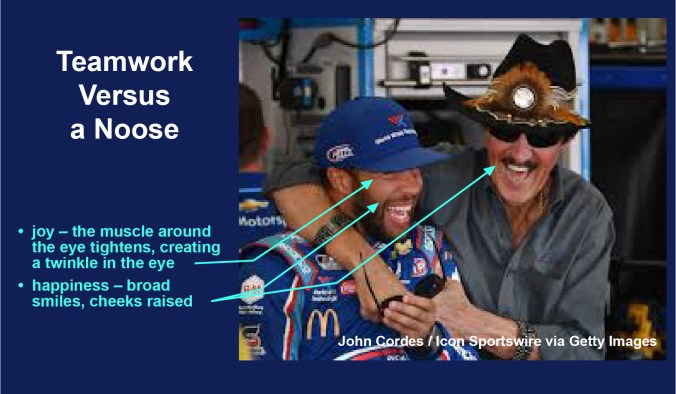 NASCAR buddies: a joyful Bubba Wallace and Richard Petty share a laugh. Joy - the muscle around the eye tightens, creating a twinkle in the eye happiness - broad smiles, cheeks raised