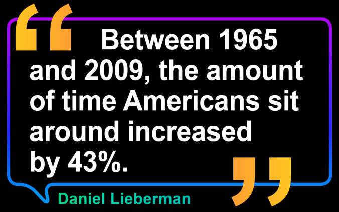 Quote: Between 1965 and 2009, the amount of time Americans sit around increased by 43%. Daniel E. Lieberman