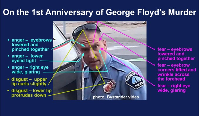 Photo from Exhibit 17 from Derek Chauvin's trial was a still-frame image of the police officer glaring at onlookers while his knees rested on George Floyd's throat. What was Chauvin's facial expression saying? The answer is both anger (tense lower right eyelid, wide open right eye and lowered eyebrows) as well as fear (eyebrows raised, creating a large wrinkle across Chauvin's forehead) and Disgust  (curled upper lip and protruding lower lip)
