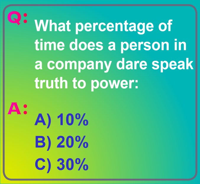 What percentage of times does a person in a company dare speak truth to power? Is it 10%, 20%, or  30%? What's your guess?