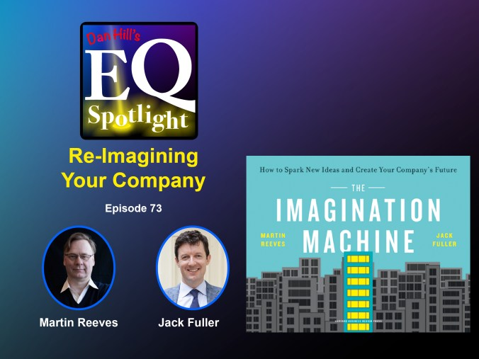 """Images for Authors Martin Reeves and Jack Fuller, and their new book """"The Imagination Machine: How to Spark Ideas and Create Your Company's Future"""" for Dan Hill's EQ Spotlight podcast, episode 73."""