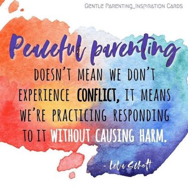 Peaceful parenting doesn't mean we dont experience conflict, it means we are practicing responding to it without causing harm.
