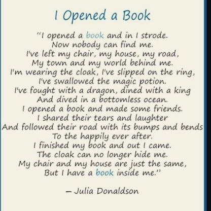 Poem - I Opened A Book by Julia Donaldson