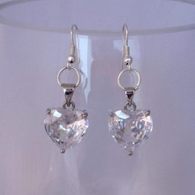 Clear cubic zirconia heart earrings