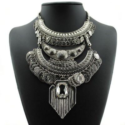 Bohemian chunky silver statement necklace